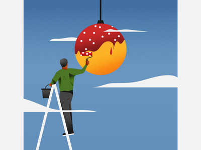 Decorating illustrator illustration festive holiday season christmas holidays