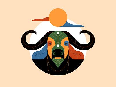 African Buffalo illustrator illustration animal illustration animal buffalo