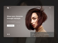 Hair Studio | Concept uxuidesign design main page dailyui ui creativity clean grey web hairdresser woman beauty minimal concept webdesign hairstyle haircut black