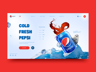 PEPSI HOME PAGE REDESIGN uxdesign redesign homepage beverage design cold fresh creativity dailyui website clean popular landing concept minimal webdesign design ui e commerce pepsi
