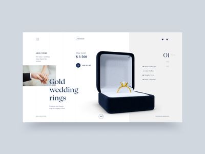 Jewelry Store Main Page jewelry uxui uxdesign website main page figma dailyui clean ui uidesing creativity e-commerce wedding wedding ring minimal concept clean