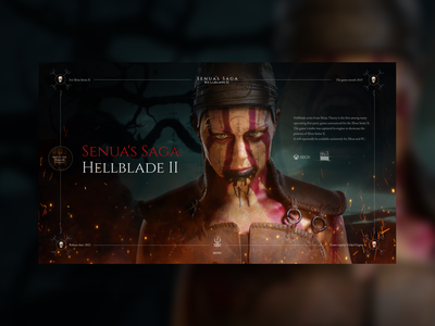 Hellblade 2 - Game Concept gaming videogame concept website uxdesign ui clean creativity main page webdesign gaming website ps4 minimal game