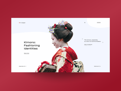 First page of the site about kimono red minimalistic uxdesign clean ui swiss style swiss design webdesign concept ui main page kimono japan minimal clean creativity