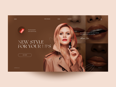 Lipstick Home Page Concept product design webdesign main page uxdesign ui minimal clean creativity girl woman red luxury fashion lip pomade lipstick