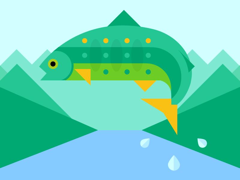 West Virginia Postcard illustration fish flat postcard