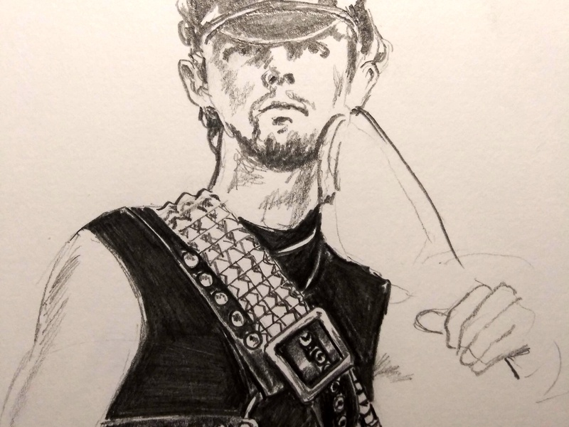 Halford with Riding crop and Belt drawing pencil robhalford