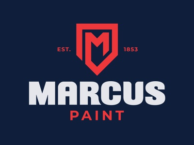 Marcus Paint Logo gray red blue brand identity identity shield logo shield paint vector branding design logo