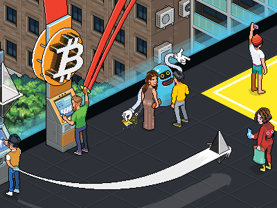 Future of cryptocurrencies centrefold illustration isometric pixel art