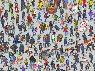 108 Mall Visitors character iso pixel illustration isometric pixel art