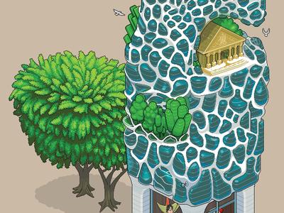Future Architecture iso isometric pixel art