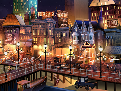 Wintertime on the Boardwalk - wip character illustration architecture 1920s buildings photoshop paint digital painting atlantic city