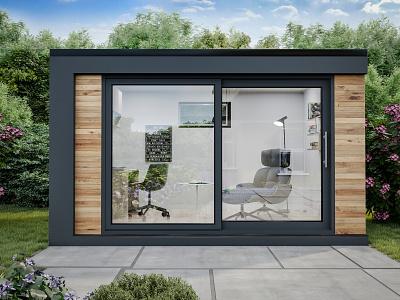 Garden house yard backyard box art 3d max 3d art exterior design coronarender illustration design