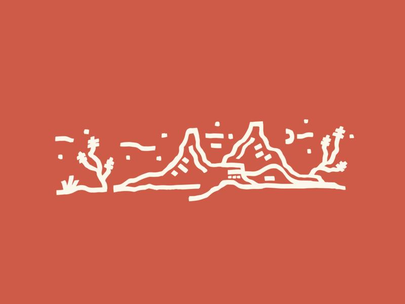 High Desert Scape landscape desert icon illustration branding