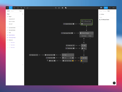 A dream about coding inside Figma. figma coding visual scripting minimal dark tools ux ui animation
