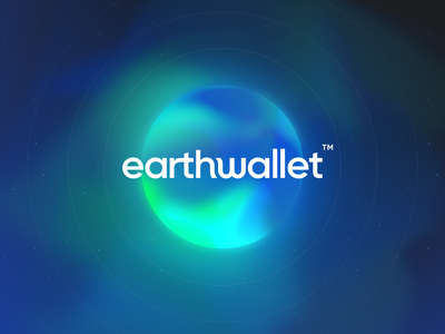 EarthWallet - Crypto Wallet dark blue design logo branding illustration