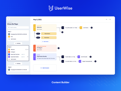 UserWise - Content Builder liveops video games gaming visual programming design blue web ux ui
