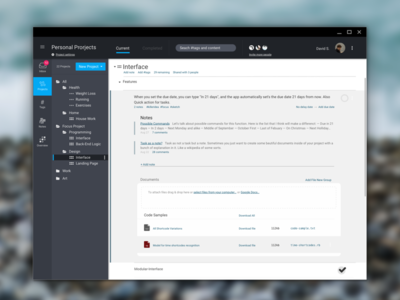 Focus — Life Management Tool ux design ui design clean project management tools white dark flat application