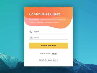 Guest Sign In with a nice flow app ios android web platform sign in sign up website