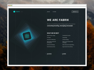 Fabrik Website Design ux ui blue dark web