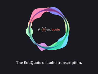 EndQuote - An audio transcription service transcription audio waves ux ui blue dark web