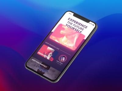 CyberPunk Apparel Shopping, Year 2077 brand clothing apparel blue concept app ecommerce cyberpunk dark design ui ux