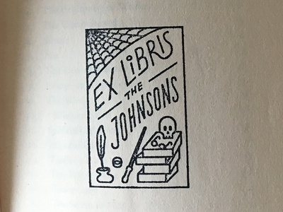 Family library Ex Libris stamp glasses ring feather ink library books wand web skull exlibris illustration stamp