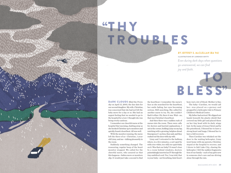 Thy Troubles to Bless magazine spread editorial illustration editorial design byu magazine