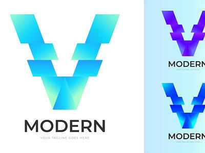 Letter V Gradient Logo Design logo design abstract branding vector