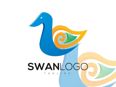 Abstract Colorful Swan Logo