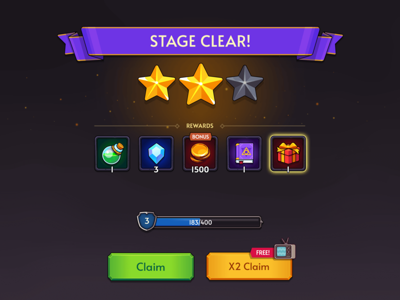 Fantasy RPG Play Result ui layerlab clear stage result game rpg fantasy