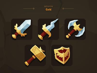 Casual Weapon Icon Gold casual fantasy shield hamer short sword dagger attack swords rpg weapon sword ax vr games cartoon lowpolygon 3d
