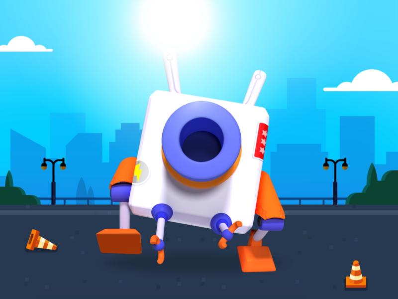 Game Robo Bricks Optie game design mobile brick character animation robo ball