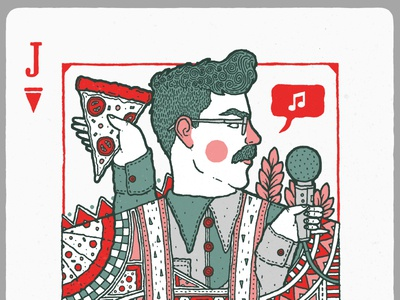 Carbs playing cards playing card scottish cards card portrait moustache pizza illustration