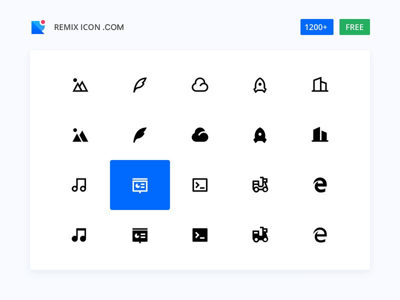Remix Icon open source free 2px icon