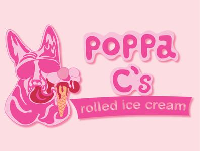 POPPA C's Ice Cream logotype brand identity logo