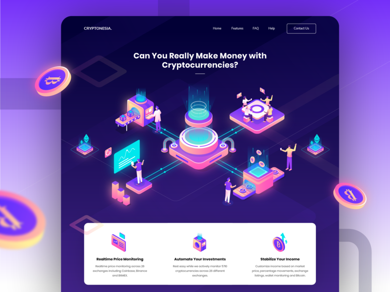 Cryptonesia - Cryptocurrencies Realtime Price Monitoring adobe illustrator vector purple isometric design illustration hero illustration header illustration website web ui blockchain crypto mining cryptocurrency