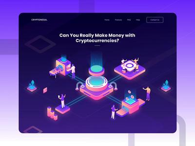 Cryptonesia - Cryptocurrencies Website Header Animation