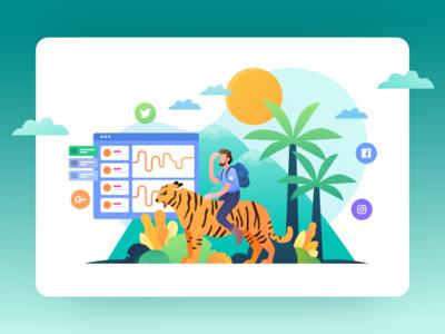 Maung - Social Media Management Tools Illustration
