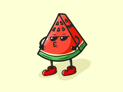 Cool Watermelon character cartoon mascot watermelon cute fruit illustration illus