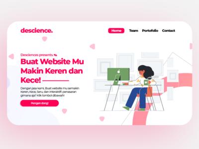 Descience Landing Page Designs web typography logo illustration icon app flat design branding animation