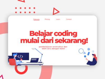 Code Course Landing Page typography minimal flat website design website web development web design ux ui design web