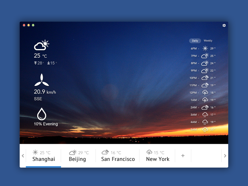 Another Weather app for Mac weather flat blue