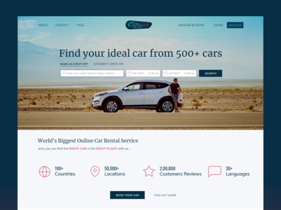 Webpage for Car Rental Service