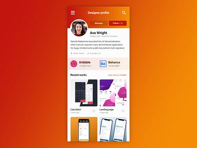 User Profile - DailyUI #005 005 user feed profile user profile profile page webdesign daily ui web vector design ui mobile app dailyui