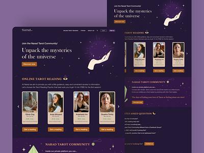 Tarot Community Landing Page intuitive feeling heal spiritual moon star universe mystery conceptpage darktheme dark witch magic webdesign ux ui landingpage homepage magical tarot