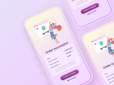 Order successful screen shopping order colorful pastel gradient clean product details product app ui confirm successful success order successful mobile app design app ux ui