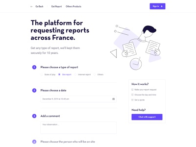 Homepage Form Report ui uidesign form illustrations webdesign report request homepage
