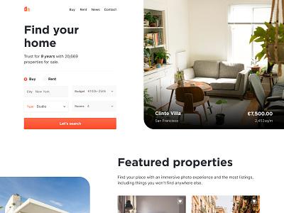 Real Estate Website house sales estate agent landing homepage real estate