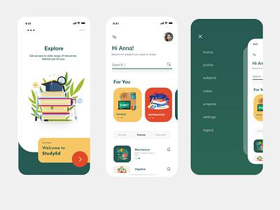 StudyEd ecommerce uidesign ui design vector user interface elearning menu onboarding app design design app mobile app mobile education app education dashboad