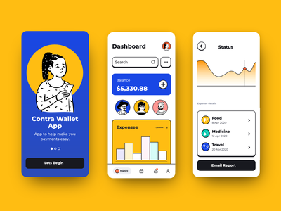 Contra Wallet App vector illustration ui design ui uxdesign design user interface mobile app app design finance dashboad wallet app wallet